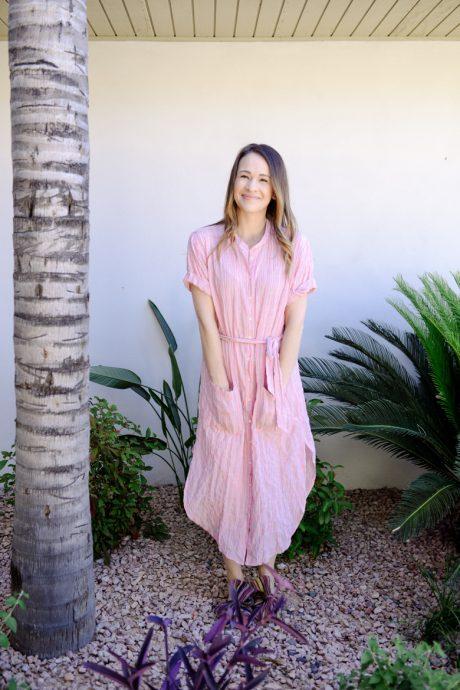 Call me Lore wearing Xirena pink dress