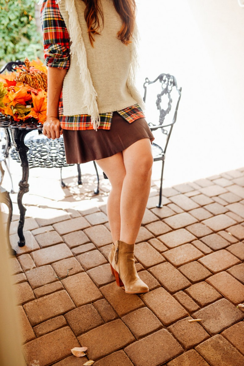 Joie boots and leather skirt