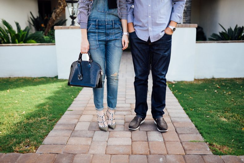 Madewell denim overalls and valentino studded pumps