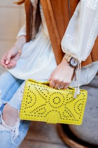 Calypso top and yellow clutch