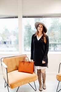 Intermix shirt dress and knee high boots