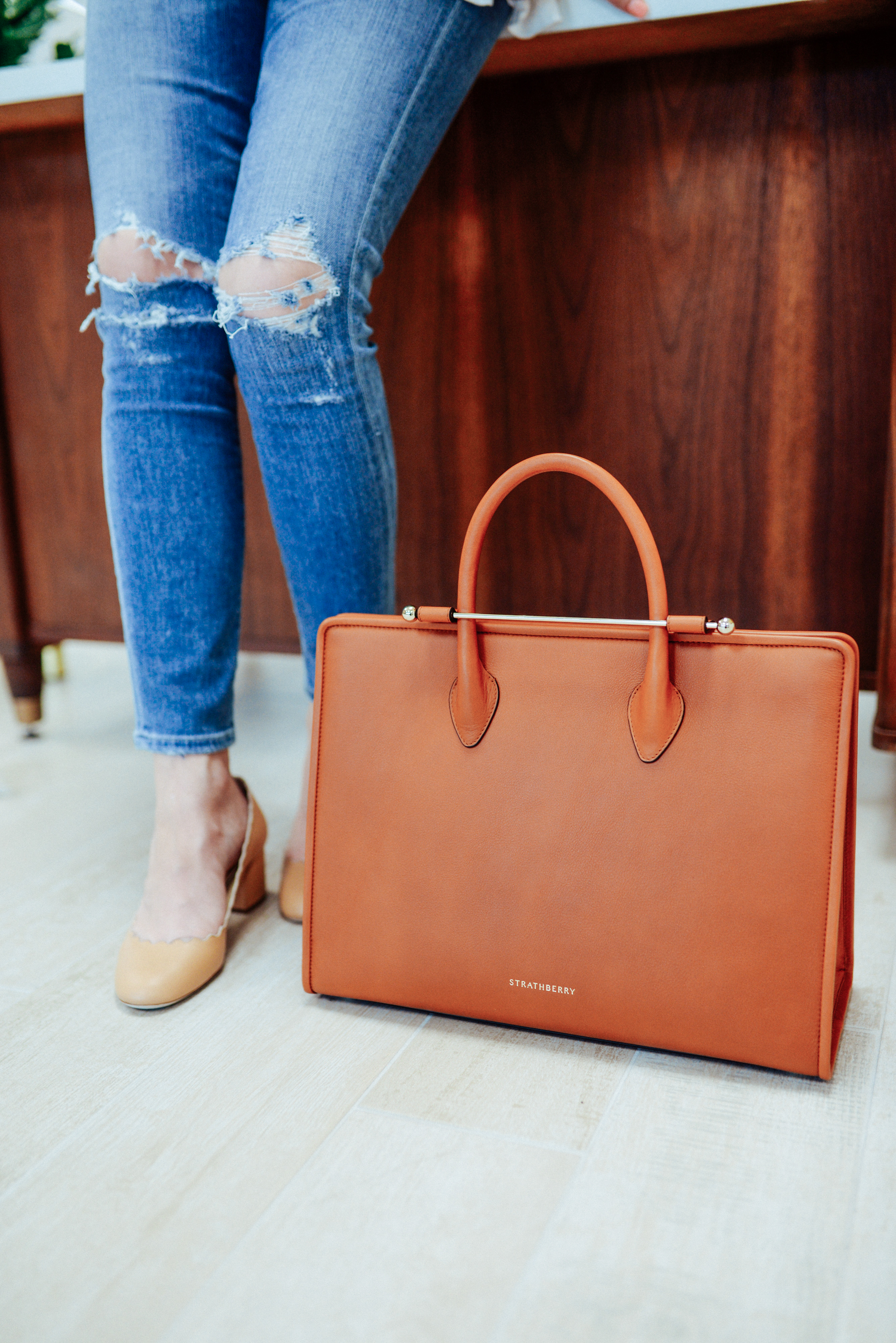 Chloe flats and Strathberry bag