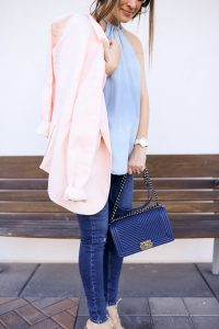 Joie pink jacket and blue Chanel Boy Bag
