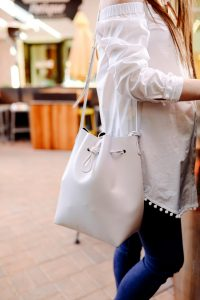 Mansur Gavriel white bucket bag