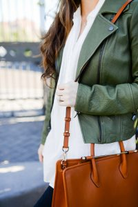 Green leather jacket and white shirt