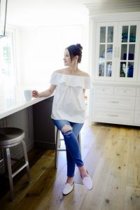 White off shoulder top and skinny jeans outfit- Call me Lore