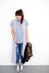 Call me Lore wearing Rag and Bone boyfriend jeans and Theory long grey vest