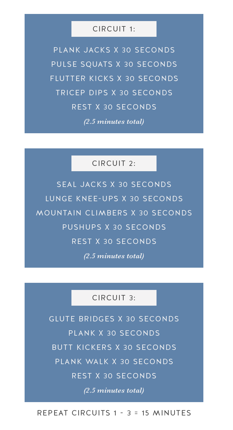 Quick Easy Home Workouts Without Equipment Call Me Lore Circuit Style Workout Lores 15 Minute At