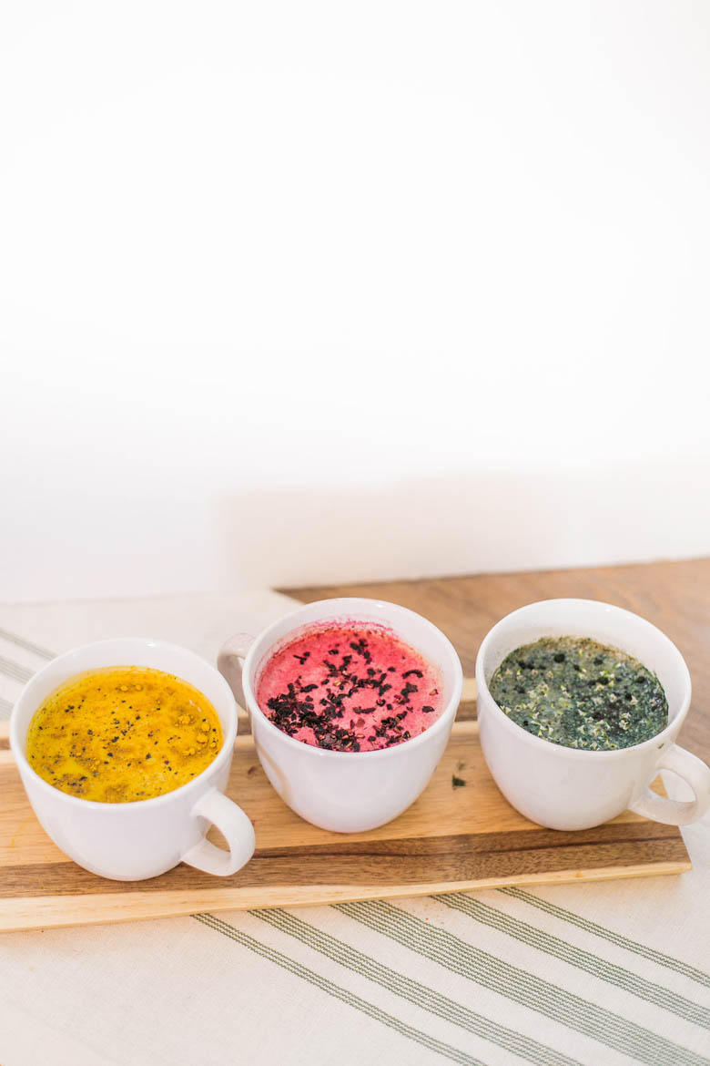 Call Me Lore's Superfood Latte Recipes: Matcha Latte, Turmeric Latte, Blue Latte, Pink Latte
