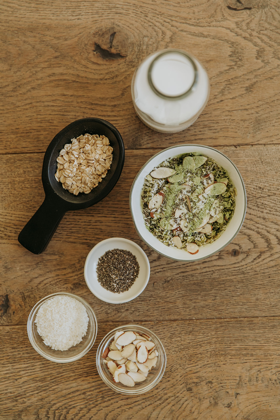 Matcha Coconut Chia Overnight Oats.