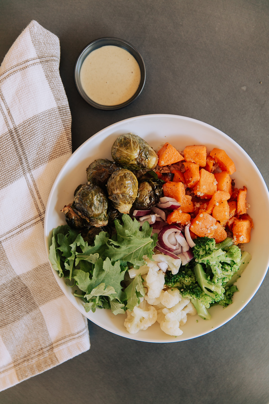 Roasted veggie bowl with tahini.